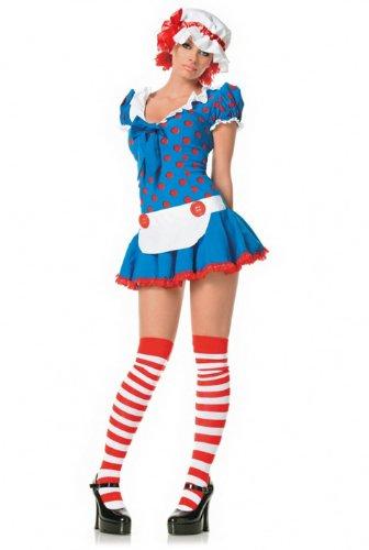 Leg Avenue Women's 3 Piece Rag Doll Costume, Multi, (Rag Doll 3 Piece Costumes)