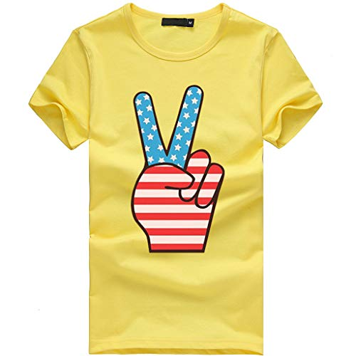 Sanyyanlsy Women's Plus Size Cute Independence Day Stars and Stripes Short Sleeve O-Neck T-Short Blouse Tank Tops Vest Yellow