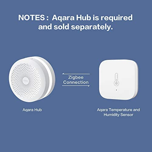 Aqara Temperature and Humidity Sensor, REQUIRES AQARA HUB, Zigbee Connection, for Remote Monitoring and Smart Home Automation, Wireless Thermometer Hygrometer, Compatible with Apple HomeKit, Alexa 416DY onmTL