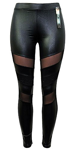 Moda Age Women's PU FAUX LEATHER LEGGINGS BLACK TIGHTS, SIZE S/M & L/XL (S/M)