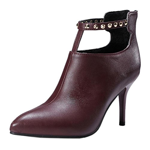 RAZAMAZA Eclair Chaussures Fermeture Femmes red Aiguille OSO7wfqxA