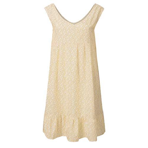 FEDULK Womens Plus Size Summer Dress Floral Print Beachwear Sling Sleeveless Holiday Mini Swing Dress(Yellow, XX-Large)