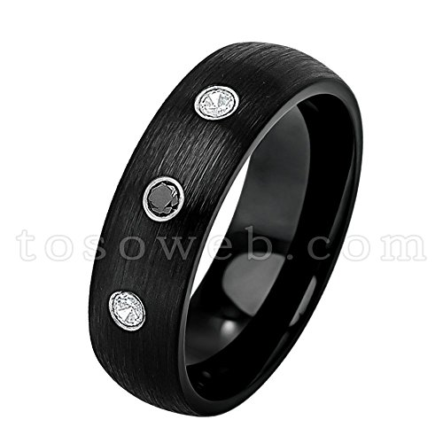 Ladies 0.21ctw Black & White Diamond 3-Stone Wedding Band, Solid Tungsten Carbide Comfort Fit Anniversary Ring, Semi-Dome Black Ion Plated Brushed Center Tungsten Carbide Ring-s7.5
