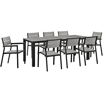 Modway Maine 9 Piece Outdoor Patio Dining Set, White/Light/Gray