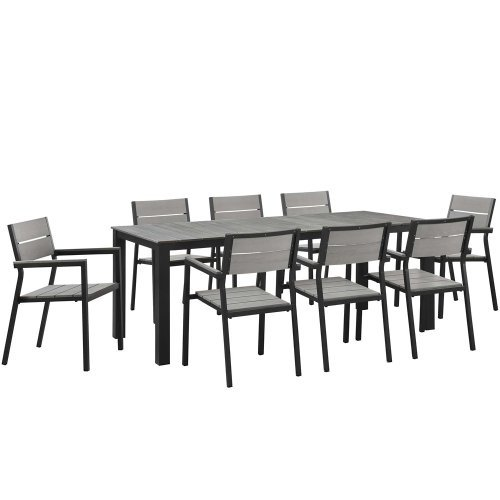 Pieces 8 Contemporary (Modway Maine 9-Piece Aluminum Dining Table And Chair Outdoor Patio Set in Brown Gray)
