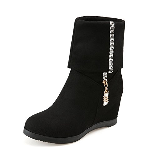 Pull Frosted Solid Closed High Boots Heels AllhqFashion Toe Black Womens Round On 608xttq4