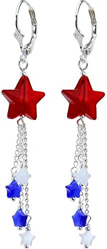 Body Candy Handcrafted Silver Plated Leverback Patriotic Star Drop Earrings