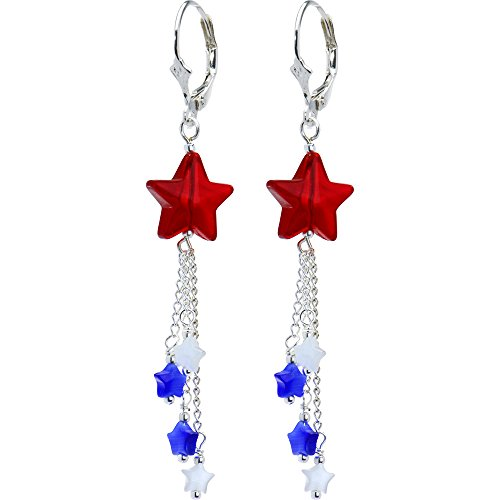 Body Candy Handcrafted Silver Plated Leverback Patriotic Star Drop -