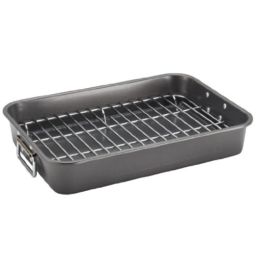 Farberware Nonstick Bakeware 11-Inch x 15-Inch Roaster with Flat Rack, Gray