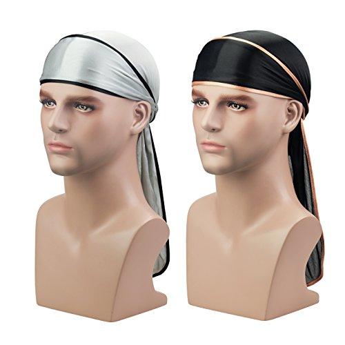 Silky Durag Headwraps (2PCS) Extra Long Tail Wide Straps 360 (Headwrap Du Rag)
