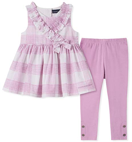 Calvin Klein Girls' Little 2 Pieces Legging Set Pants, Plaid/Lavender Mist 4 ()
