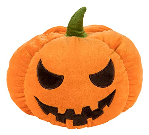 Blue Panda Halloween Pumpkin Plush Toy - Orange Jack-O-Lantern Stuffed Doll, Fluffy Throw Pillow Cushion for Kids, Halloween Party Decoration -