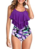 Womens Tankini Swimsuits High Waisted Bathing Suits Tummy Control Ruffled Top Swimwear Two Piece Swimming Suits 18 Purple-Floral Print 14-16