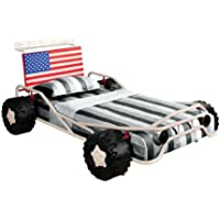 Furniture of America Youth Race Car Design Metal Bed with American Flag Headboard, Twin, White