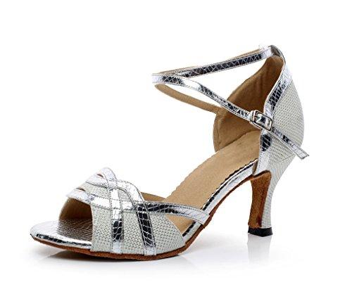 Minitoo QJ7027 de tacones de para mujer magnética con función de Latin con diamantes de zapatos de diseño de flores de llaves de plata