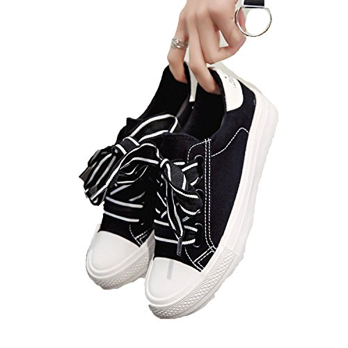 Canvas Sneakers Women Pink Shoes with Ribbon2018 New Harajuku Wind Shoes Fashion Flat Students Shoes,Black,6.5