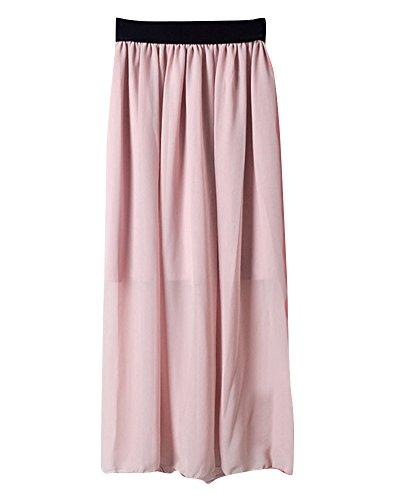 Taille Longue Midi lastique Femmes Mesdames Mousseline lgant Soie Pliss en de Soie Rose Clair de Jupe Casual Jupe Mousseline Bq81x5