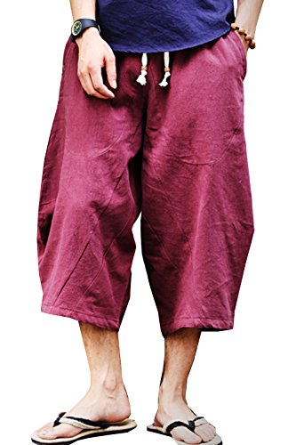 SWORLD Men's Patchwork Shorts Loose Linen Harem Capri Pants With Drawstring