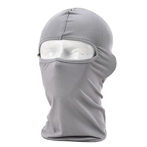 Rioriva Mens Balaclava Ski Mask Outdoor Sports Hiking Skiing Cycling Face Mask (Lycra-grey),One Size,BF-05