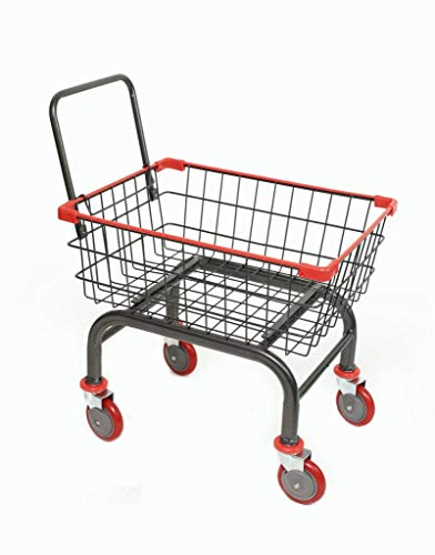 Cart&Supply Heavy Duty Household & Commercial Charcoal Grey Cart with U- Handle (RED) (Laundry Wheeled Carts)