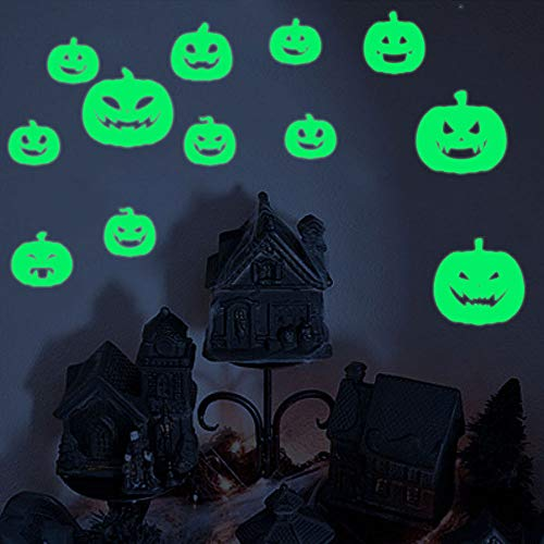 Rumas Luminous Pumpkin Wall Murals for Kids Room - Switch Wall Decals Glow in Ther Dark - Happy Halloween Ornament - Removable Wall Stickers for Home Office Shop (Multicolor)