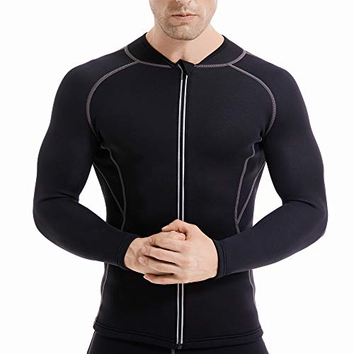 L&Sports Sauna Suit for Men, Sauna Pants Mens Hot Neoprene Sauna Sweat Shirt, Neoprene Long Sleeve Top Jacket Waist Trainer Workout Shirt with Zipper (Mens Sauna Shirt, 3XL)