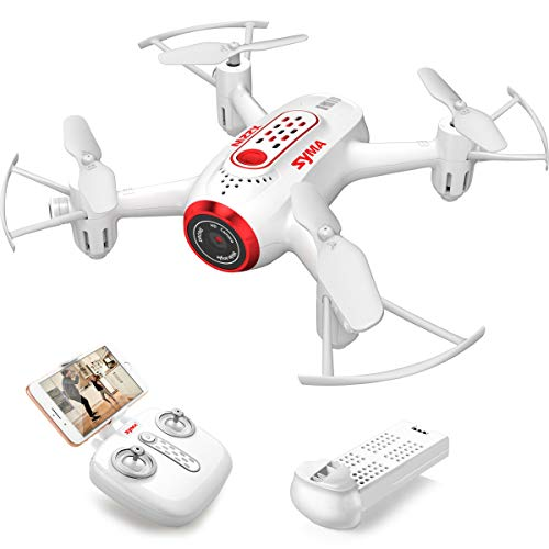 SYMA X22W Drone with Camera Live Video FPV Nano Pocket Mini Drone for Kids and Beginners, RC Quadcopter with App Control, Altitude Hold, 3D Flips, Headless Mode, White