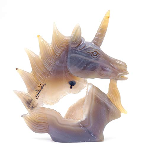- 5.8'' Natural Agate Geode Crystal Unicorn Figurine Decor Carving Healing Quartz Horse Head Gift