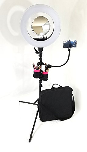 YOUR NAME & LOGO PRINTED---TuscanyPro 18″ LED Ring Light UNIQUE w/ Brush Holders, Cell Phone Holder & Mirror--480 DIMMABLE LED BULBS--A BONUS CELL PHONE HOLDER INCLUDED....