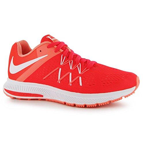NIKE Zoom Winflo 3Chaussures de Course à Pied pour Femme Rouge/Blanc RUN Fitness Formateurs Sneakers
