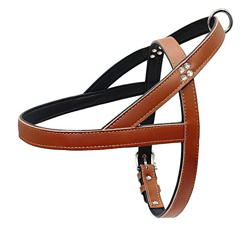 Beirui Leather Dog Harness - No Pull Soft Padded PU Leather Vest Rhinestone Handmade - Halter Harness for Small and Medium Dogs Puppy,Terrier Lad,Pit Bulldog,Brittany Spaniel,Brown for 24.5-28