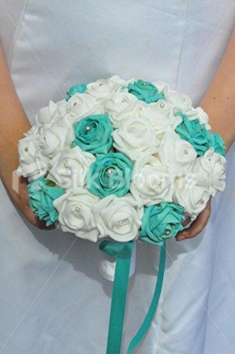 Bouquet Sposa Mare.Splendida Artificiale Schiuma Mare Verde E Avorio Rose