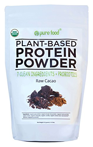 Pure Food: The Healthiest Plant Based Protein Powder with Probiotics | Organic, Clean, All Natural, Vegan, Vegetarian, Whole Superfood Nutritional Supplement | Raw Cacao (Chocolate), 512 Gram Pouch by Pure Food