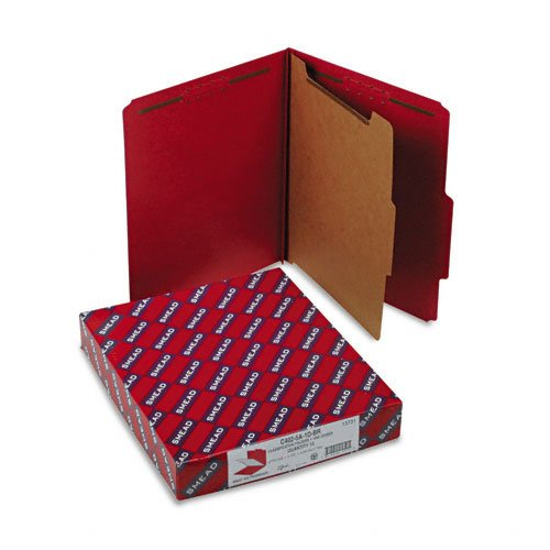 Smead Products - Smead - Pressboard Classification Folders, Letter, 4-Section, Bright Red, 10/Box - Sold As 1 Box - SafeSHIELDTM coated fastener technology. - Feature colored 23 pt. pressboard covers with 2