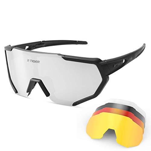 X-TIGER Fietsbril Gepolariseerde Zonnebril Tr90 Superlight Frame met 3 of 5 Verwisselbare bril UV400 Bescherming voor…