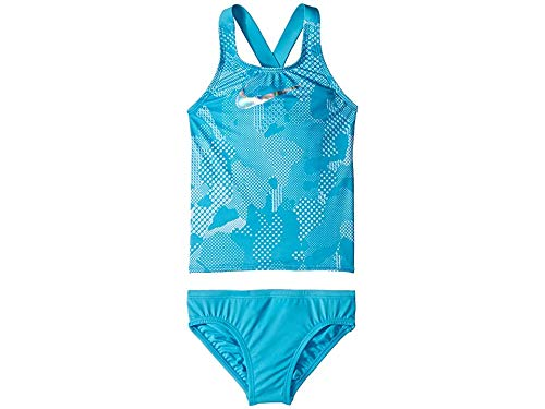Nike Kids Girl's Optic Camo Cross-Back Tankini (Little Kids/Big Kids) Light Blue Fury Medium