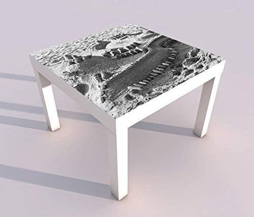 Diseño - Mesa con UV Impresión 55x55cm Negro Blanco Castillo de Arena Castillo Candado Mar Arena Viaje Mesa de Juegos Laca Tablas Imágenes Dormitorio Infantil Mueble 18A1605-55x55cm: Amazon.es: Hogar