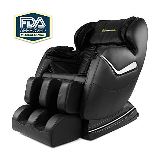 Real Relax Zero Gravity Full Body 3 Years Warranty FDA Approved Affordable Shiatsu Electric Massage Chair with Heat and Foot Roller, Black