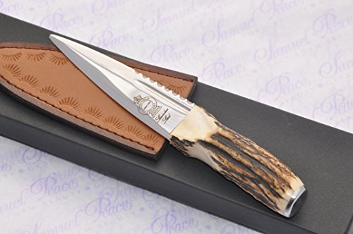 (Genuine Sambar Stag Handle Sheffield Sgian Dubh Boxed with Leather Sheath Stamped Sheffield England)