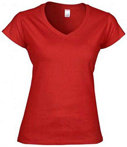 Gildan Softstyle - Camiseta Camiseta con cuello de pico. Rosso