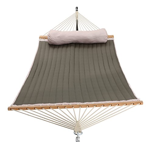 416Dd4TYkYL - Patio Watcher 11 Feet Quilted Fabric Hammock with Pillow, Double Hammock with Bamboo Wood Spreader Bars, Perfect for Outdoor Patio Yard, Dark Green
