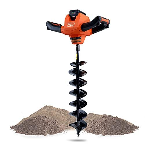 Cabezal eléctrico SuperHandy Earth Auger con broca de acero de 6 x 30 Batería y cargador de iones de litio inalámbricos eléctricos ultra resistentes y ecológicos para excavación de tierra / perforación y excavación de orificios de postes (Juego de talad