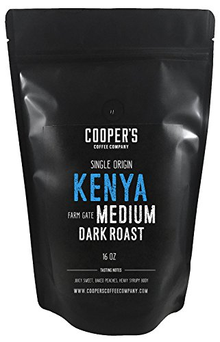 Kenya AA Medium-Dark Roast Coffee Beans, Micro Lot Single Origin Whole Bean Coffee, Farm Gate Direct Trade, Gourmet Coffee – 1lb Bag