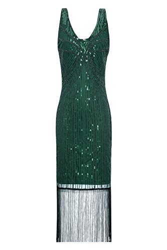 Metme Women's Vintage 1934s Inspired Fringed Art Deco Gatsby Evening Party Dress Green