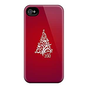High Quality Shock Absorbing Case For Iphone 4/4s-red Christmas Tree 2013