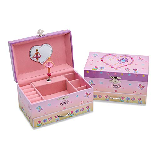 Lucy Locket Fairy Tale Musical Jewelry Box for Children - Pink Glittery Kids Music Box with Ring Holder