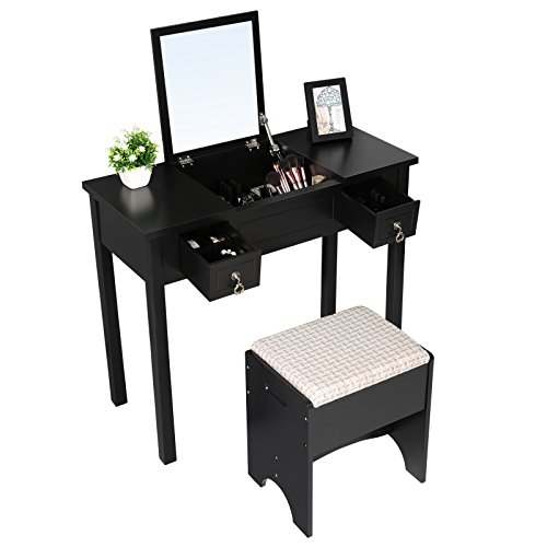 7d8028931b659 VASAGLE Vanity Set with Flip Top Mirror Makeup Dressing Table Writing Desk  with 2 Drawers Cushioned Stool 3 Removable Organizers