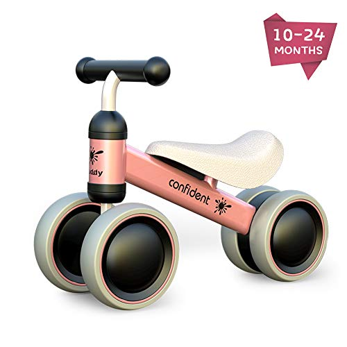 XIAPIA Baby Balance Bike Toddler Tricycle Bike No Pedals 10-24 Months Ride-on Toys Gifts Indoor Outdoor for One Year Old Boys Girls First Birthday Thanksgiving Christmas (Pink)