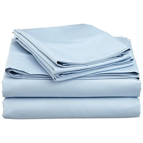 """Cheap LaxLinen 500 Thread Count 100% Egyptian Cotton 4PC Bed Sheet Set 30"""" Inch Extra Deep Pocket Queen Bed Size, Sky Blue Solid"""