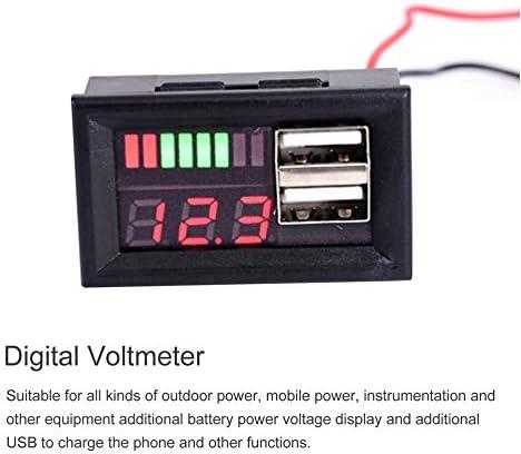 gfjfghfjfh Pantalla Digital LED Volt/ímetro Medidor de Voltaje Volt Tester Dual USB 5V 2A para DC 12V Coches Motocicletas Veh/ículos Capacidad de la bater/ía